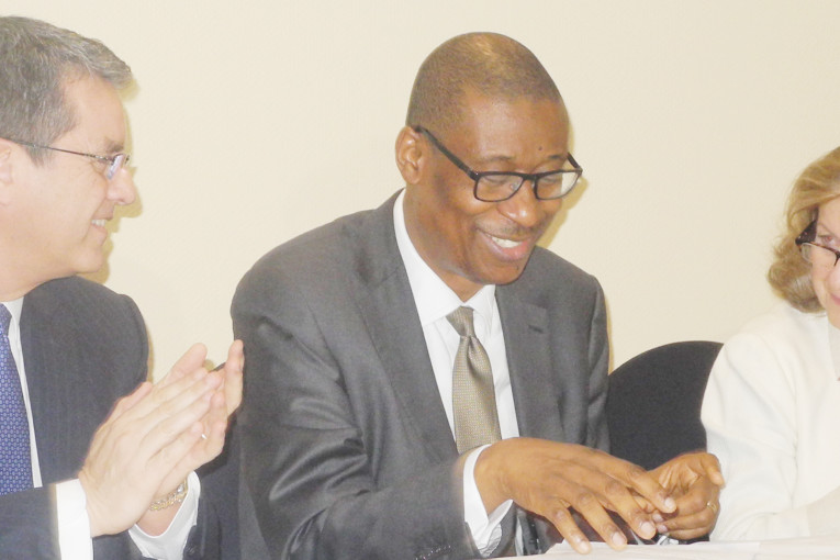 PIC.7. FROM LEFT: DIRECTOR-GENERAL, WORLD TRADE ORGANISATION (WTO), MR ROBERTO   AZEVEDO; MINISTER OF INDUSTRY, TRADE AND INVESTMENT, DR OKECHUKWU ENELAMAH, AND   SENIOR ADVISOR TO THE DIRECTOR-GENERAL OF WTO, GRACA ANDRESEN-GUIMARAES, DURING   AN INTERRACTIVE SESSION WITH MEMBERS OF THE PRIVATE SECTOR, IN ABUJA ON MONDAY. 0905/16/2/2016/TA/BJO/NAN