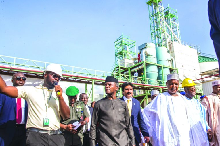 Vice President Yemi Osinbajo commissioning the multi-billion Naira Wacot Rice Mill in Argungu, Kebbi State